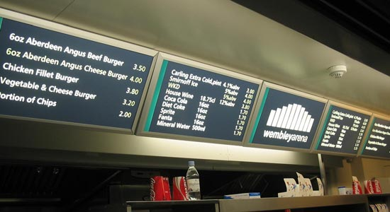 Wembley Arena Catering Retail Signage