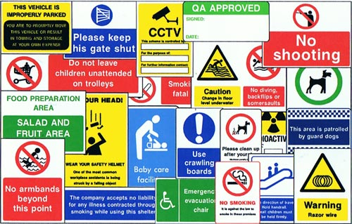 of health and safety signs for use in the workplace and public areas