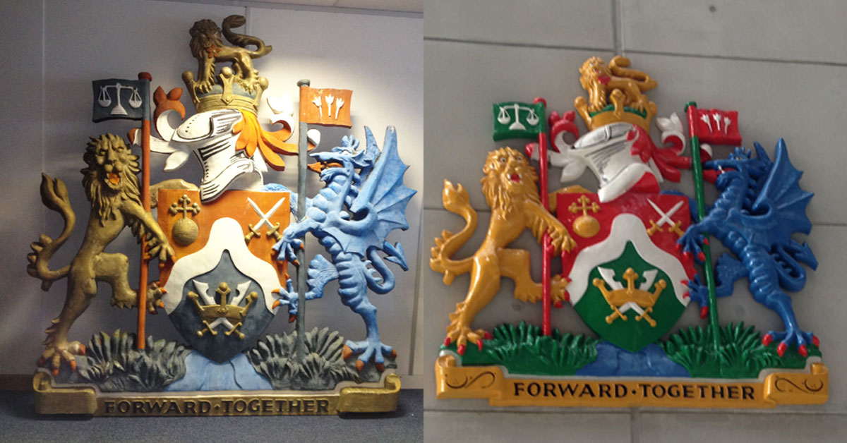 Brent Council Coat of Arms - Before and After