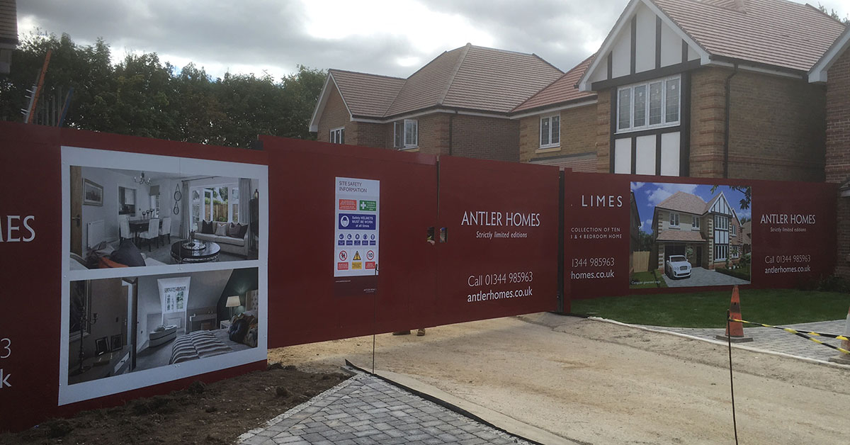 Construction Hoarding For Antler Homes In Old Ascot